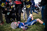 Line Burquier (FRA) post race exhausted<br /> <br /> Women's Junior race<br /> UCI 2020 Cyclocross World Championships<br /> Dübendorf / Switzerland<br /> <br /> ©kramon
