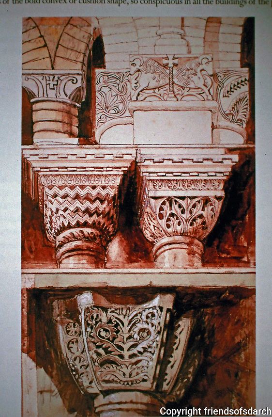 A gallery of John Ruskin's drawings of Byzantine architectural Capital details.