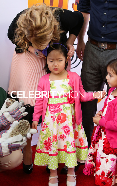 """LOS ANGELES, CA - JANUARY 11: Katherine Heigl, Nancy Leigh Kelley, Adalaide Marie Hope Kelley at the World Premiere Of Open Road Film's """"The Nut Job"""" held at Regal Cinemas L.A. Live on January 11, 2014 in Los Angeles, California. (Photo by Xavier Collin/Celebrity Monitor)"""
