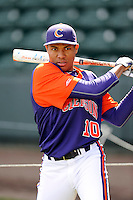 Outfielder KJ Bryant (10) of the Clemson Tigers prior to the Reedy River Rivalry game against the South Carolina Gamecocks on Saturday, February 28, 2015, at Fluor Field at the West End in Greenville, South Carolina. South Carolina won, 4-1. (Tom Priddy/Four Seam Images)