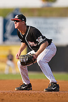 First baseman Tom Hagan (26) of the Hickory Crawdads on defense at L.P. Frans Stadium in Hickory, NC, Sunday, August 17, 2008.