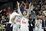 Real Madrid's Ioannis Bourousis and Andres Nocioni celebrate the victory in the Euroleague Final Match. May 15,2015. (ALTERPHOTOS/Acero)