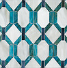 Tanzanian Trellis Grand, a waterjet jewel glass mosaic, shown in Alabaster, Alexandrite, and Dusk mirror. Designed by Joni Vanderslice as part of the J. Banks Collection for New Ravenna.