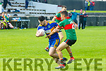 St. Senan's V Beale: St. Senan's Conor Kennelly wins the ball ahead of Beale's Paul Collins in their 1st round encounter in the Bernard O'Callaghan Memorial North Kerry Senior Championship game at Bob Stack Park, Ballybunion on Saturday afternoon last.