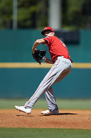 Brayden Lybarger (55) of Elida HS in Lima, OH playing for the Cincinnati Reds scout team during the East Coast Pro Showcase at the Hoover Met Complex on August 3, 2020 in Hoover, AL. (Brian Westerholt/Four Seam Images)