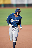 Je'Von Ward (8) of the Helena Brewers circles the bases after hitting a home run against the Ogden Raptors at Lindquist Field on July 14, 2018 in Ogden, Utah. Ogden defeated Helena 8-6. (Stephen Smith/Four Seam Images)