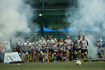 Samurai International RFC and Penguins enter the field for the Cup final at GFI HKFC Rugby Tens 2016 on 07 April 2016 at Hong Kong Football Club in Hong Kong, China. Photo by Juan Manuel Serrano / Power Sport Images