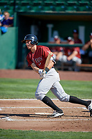 Tyler Straub (18) of the Idaho Falls Chukars bats against the Ogden Raptors in Pioneer League action at Lindquist Field on July 2, 2017 in Ogden, Utah. Ogden defeated Idaho Falls 6-5. (Stephen Smith/Four Seam Images)