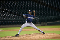 AZL Padres relief pitcher Cristian Machuca (11) delivers a pitch to the plate against the AZL Cubs on August 28, 2017 at Sloan Park in Mesa, Arizona. AZL Cubs defeated the AZL Padres 2 9-4. (Zachary Lucy/Four Seam Images)