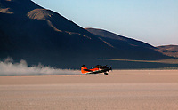 An Antonov AN-2, N87AN, biplane rolls out after a landing at the Black Rock Desert, Nevada