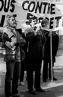 October 15, 1983 file photo - Montreal, Quebec, CANADA - <br /> Artist Armand Vaillancourt and Gilles Rheaume, President, Societe Saint-Jean Baptiste du Quebec are among the speakers at a Demonstration held in front of Montreal city Hall, against law C-157 creating the Canadian Security Intelligence Service.<br /> <br /> Gilles Rheaume just died at 63, February 6, 2015.1984, and on July 16, 1984