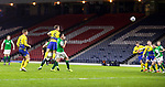 St Johnstone v Hibs…23.01.21   Hampden     BetFred Cup Semi-Final<br />Jason Kerr scores his goal<br />Picture by Graeme Hart.<br />Copyright Perthshire Picture Agency<br />Tel: 01738 623350  Mobile: 07990 594431