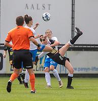 Loes Van Mullem (33) of Eendracht Aalst pictured during a female soccer game between Eendracht Aalst and KRC Genk on the third matchday of the 2021 - 2022 season of Belgian Scooore Womens Super League , Saturday 4 September 2021  in Aalst , Belgium . PHOTO SPORTPIX    KRISTOF DE MOOR