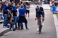 Rémi Cavagna (FRA/Deceuninck - Quick Step) finishing<br /> <br /> Men Elite Individual Time Trial <br /> from Knokke-Heist to Bruges (43.3 km)<br /> <br /> UCI Road World Championships - Flanders Belgium 2021<br /> <br /> ©kramon