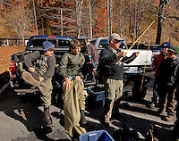 Getting ready for fly fishing in the South Mountain State Park in Connelly Springs, North Carolina.