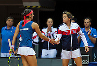 Arena Loire,  Trélazé,  France, 16 April, 2016, Semifinal FedCup, France-Netherlands, First match: Caroline Garcia and captain Amelie Mauresmo<br /> Photo: Henk Koster/Tennisimages