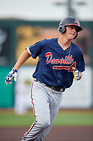Danville Braves first baseman Griffin Benson (16) rounds the bases after hitting a home run in the top of the fourth inning during a game against the Johnson City Cardinals on July 28, 2018 at TVA Credit Union Ballpark in Johnson City, Tennessee.  Danville defeated Johnson City 7-4.  (Mike Janes/Four Seam Images)