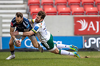 21st March 2021; AJ Bell Stadium, Salford, Lancashire, England; English Premiership Rugby, Sale Sharks versus London Irish; Byron McGuigan of Sale Sharks drops the ball for a dissallowed try