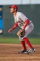 Spokane Indians first baseman Barrett Serrato #20 during a game against the Everett AquaSox at Everett Memorial Stadium on June 20, 2012 in Everett, WA.  Everett defeated Spokane 9-8 in 13 innings.  (Ronnie Allen/Four Seam Images)