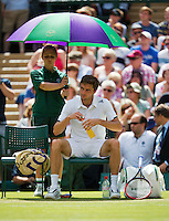 England, London, 27.06.2014. Tennis, Wimbledon, AELTC, Gilles Simon (FRA)<br /> Photo: Tennisimages/Henk Koster
