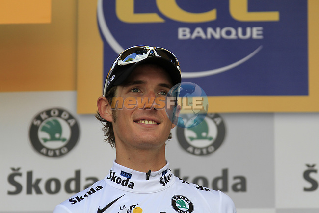Andy Schleck (LUX) Saxo Bank retains the young riders White Jersey at end of Stage 18 of the 2010 Tour de France running 198km from Salies-de-Bearn to Bordeaux, France. 23rd July 2010.<br /> (Photo by Eoin Clarke/NEWSFILE).<br /> All photos usage must carry mandatory copyright credit (© NEWSFILE | Eoin Clarke)