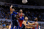 Robert Covington of 76ers (C) fights for the ball with Dennis Smith Jr of Dallas Mavericks (R) during the NBA China Games 2018 match between Dallas Mavericks and Philadelphia 76ers at Universiade Center on October 08 2018 in Shenzhen, China. Photo by Marcio Rodrigo Machado / Power Sport Images