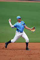 Charlotte Stone Crabs shortstop Willy Adames (2) throws to first during a game against the Dunedin Blue Jays on July 26, 2015 at Charlotte Sports Park in Port Charlotte, Florida.  Charlotte defeated Dunedin 2-1 in ten innings.  (Mike Janes/Four Seam Images)