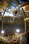 Extreme downhill mountain biking, New Hampshire.  This image has a signed model release.