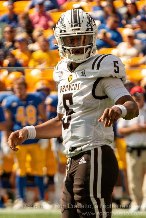 WMU quarterback Kaleb Eleby. The Western Michigan University Broncos defeated the Pitt Panthers 44-41 at Heinz Field, Pittsburgh, Pennsylvania on September 18, 2021.