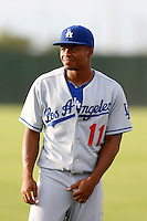 Jaylen Harris #11 of the AZL Dodgers before a game against the AZL Athletics at Phoenix Municipal Stadium on July 10, 2013 in Phoenix, Arizona. AZL Athletics defeated the AZL Dodgers, 7-1. (Larry Goren/Four Seam Images)