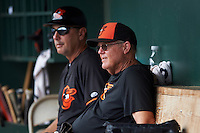 GCL Orioles coach Jerry Greeley (left) and hitting coach Milt May (right) during the second game of a doubleheader against the GCL Rays on August 1, 2015 at the Ed Smith Stadium in Sarasota, Florida.  GCL Orioles defeated the GCL Rays 11-4.  (Mike Janes/Four Seam Images)