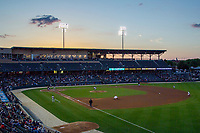 Sunset at Victory Field on May 14, 2019 in Indianapolis, Indiana. The Indians defeated the RailRiders 4-2. (Andrew Woolley/Four Seam Images)