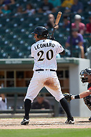 Patrick Leonard (20) Charlotte Knights at bat against the Indianapolis Indians at BB&T BallPark on August 22, 2018 in Charlotte, North Carolina.  The Indians defeated the Knights 6-4 in 11 innings.  (Brian Westerholt/Four Seam Images)