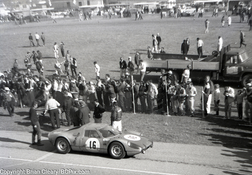 The #16 Porsche 904 GTS 005 of  Gerhard Mitter and Joe Buzzetta is shown in the winners circle after its 7th place podium finish in the 1966 24 Hours of Daytona at Daytona International Speedway, Daytona Beach, Florida, February 6, 1966.  (Photo by Brian Cleary/bcpix.com)
