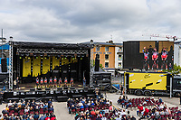 Team Lotto Soudal at the pre Tour teams presentation of the 108th Tour de France 2021 in Brest at le Grand Départ.