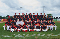 Batavia Muckdogs team photo before a game against the Tri-City ValleyCats on July 15, 2017 at Dwyer Stadium in Batavia, New York.  Front row:  Terry Bennett (33), J.C. Millan (4), Samuel Castro (5), Josh Alberius (15), Harrison White (40), Shao-Pin Ho (26);  Second Row:  Ryan Lillie (35), Jhonny Santos (13), Translator Kevin Chiu, strength coach Brady Fitzgerald, Athletic Trainer Eric Reigelsberger, Coach T.J. Gamba, Manager Mike Jacobs, Hitting Coach Rigoberto Silverio (18), Pitching Coach Jason Erickson (16), Video Assistant Chris Montgomery, Clubhouse Manager Jack Porter, Shane Sawczak (21), David Gauntt (7);  Third Row:  Marcos Rivera (8), Tyler Curtis (11), Sam Perez (44), Thomas Jones (49), Ryan McKay (27), Remey Reed (32), Brent Wheatley (23), Edward Cabrera (30), Lazaro Alonso (19), Vincenzo Aiello (38), Jeremy Ovalle (31), Tyler Frohwirth (56);  Fourth Row:  Ben Fisher (36), Alejandro Mateo (37), RJ Peace (35), Travis Neubeck (22), Alex Jones (32), Micah Brown (55), Manuel Rodriguez (47), Kenny Koplove (3), Mathew Brooks (46).  (Mike Janes/Four Seam Images)