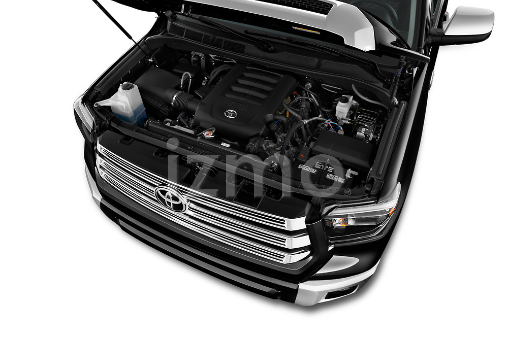 Car Stock 2020 Toyota Tundra Limited-5.7L-Crew-Max-Short-Bed 4 Door Pick-up Engine  high angle detail view