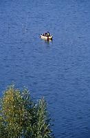 Europe/Italie/Ombrie/Env de Pérouse : Pêcheur levant ses filets sur le lac Trasimene