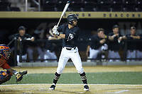 Patrick Frick (5) of the Wake Forest Demon Deacons at bat against the Virginia Cavaliers at David F. Couch Ballpark on May 18, 2018 in  Winston-Salem, North Carolina.  The Cavaliers defeated the Demon Deacons 15-3.  (Brian Westerholt/Four Seam Images)