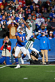 New York Jets defensive back Buster Skrine (41) defends Zay Jones (11), called for passing interference, during an NFL football game against the Buffalo Bills, Sunday, December 9, 2018, in Orchard Park, N.Y.  (Mike Janes Photography)