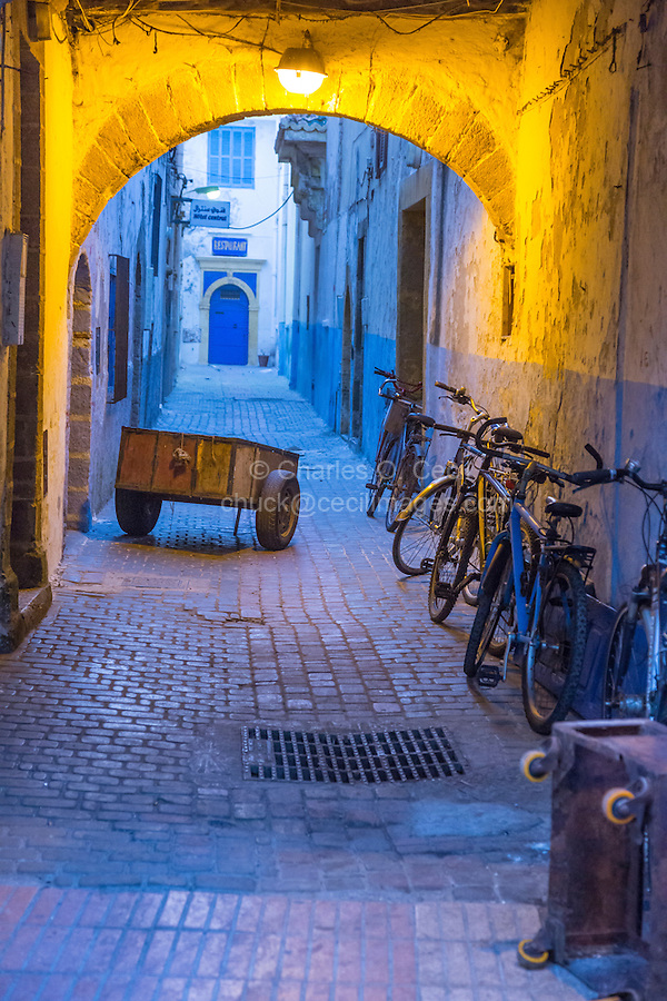 Essaouira, Morocco.  Delivery Cart in a Medina Side-street.