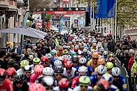 peloton rolling out of Leuven<br /> <br /> 61st Brabantse Pijl 2021 (1.Pro)<br /> 1 day race from Leuven to Overijse (BEL/202km)<br /> <br /> ©kramon