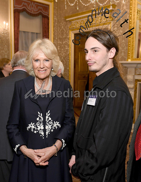 12 March 2018 - Camilla Duchess of Cornwall meets Daniel Hatton of the Commonwealth Fashion Council at the 2018 Commonwealth Day Reception at Marlborough House in London on Commonwealth Day. Photo Credit: ALPR/AdMedia