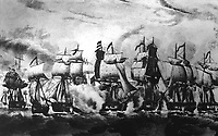 Perry's Victory on Lake Erie, Fought Sept. 10th, 1813.  Copy of lithograph by Napoleon Sarony after J.J. Barralet, published by N. Currier, ca. 1840s. (Army)<br /> NARA FILE #:  111-SC-92653<br /> WAR & CONFLICT BOOK #:  82