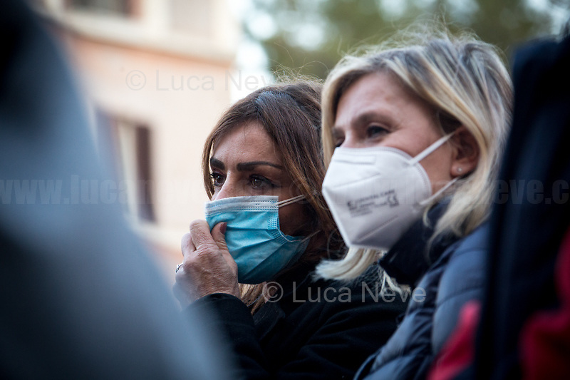 Members of Mancini's Family.<br /> <br /> Rome, Italy. 24th Mar, 2021. Today, Citizens of Rome, Antifascists, various organizations, Institutions and the President of the Italian Republic, Sergio Mattarella, pay tribute to the victims of the Fosse Ardeatine massacre in which, 77 years ago, on the 24th March 1944, 335 people were assassinated by the nazi-fascist occupation troupes in Rome. It was one of the most atrocious massacre perpetrated during World War II for retaliation against the Resistance and the Civilians.    <br /> <br /> Footnotes & Links:<br /> (Source, Treccani.it ITA) http://bit.do/fPZXL <br /> (Source, Jewishvirtuallibrary.org ENG) http://bit.do/fPZXu<br /> (Source, Wikipedia.org ENG) http://bit.do/fPZXW <br /> Today's Events: https://www.facebook.com/events/4526526500707783/ & https://www.facebook.com/events/1096587897511737/