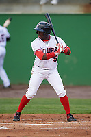 Potomac Nationals left fielder Telmito Agustin (5) at bat during the first game of a doubleheader against the Salem Red Sox on May 13, 2017 at G. Richard Pfitzner Stadium in Woodbridge, Virginia.  Potomac defeated Salem 6-0.  (Mike Janes/Four Seam Images)