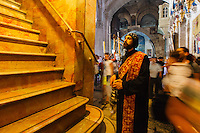 Israel, jerusalem,church of holy Sepulcher, Egyptian Coptic priest