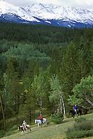 Horseback Riding.  Jasper National Park, Alberta, Canada.