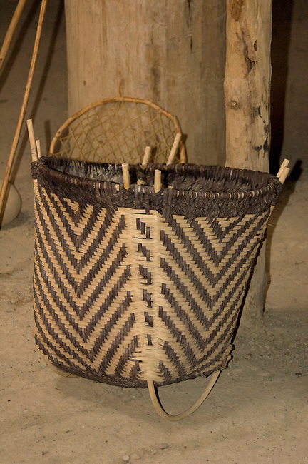 Willow reed basket used for storage and harvesting crops by the Mandan, Hidatsa and Arikara on display at the Knife River Indian Village Museum, North Dakota