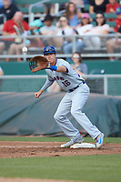 South Bend Cubs first baseman Jared Young (16) waits for a throw during the game against the Lansing Lugnuts at Cooley Law School Stadium on June 15, 2018 in Lansing, Michigan. The Lugnuts defeated the Cubs 6-4.  (Brian Westerholt/Four Seam Images)